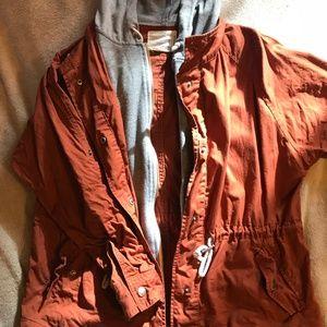 Grey Hooded Orange Utility Jacket